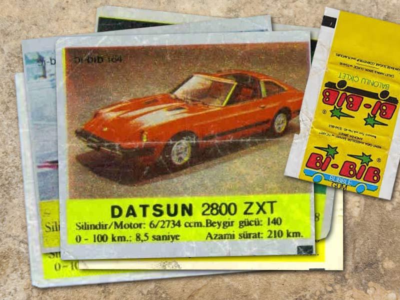 Bi-bib sakızlarının araba resimleri ve paketi