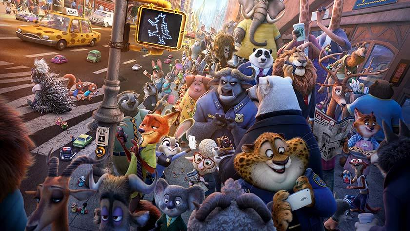 zootopia'nın kalabalık bir caddesi