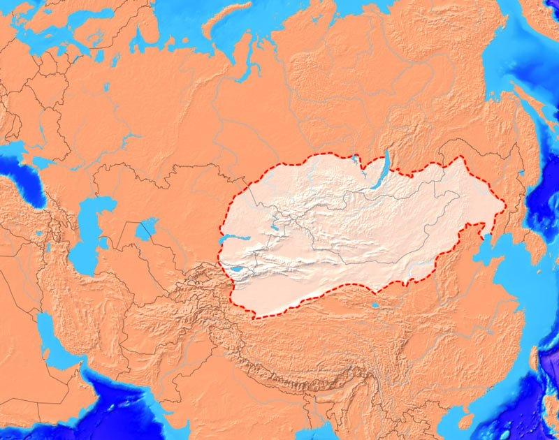 Tarihte ilk Türk devleti olarak bilinen Büyük Hun İmparatorluğu'nun (Asya Hun İmparatorluğu) en geniş sınırları. Kaynak: wikipedi