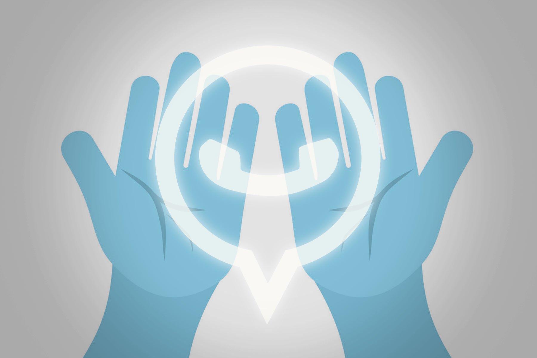 Modern dua: Dua eden ellerin üzerinde işıldayan sosyal medya uygulaması ikonu