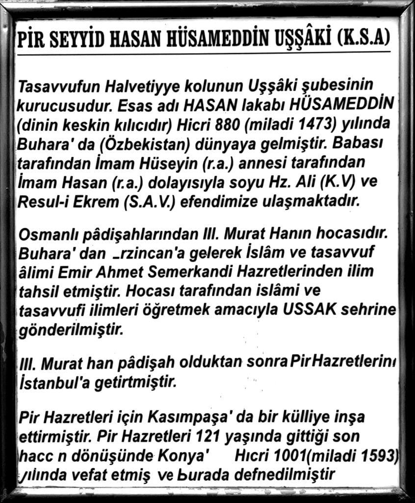 Türbe yazısı - Hasan Hüsameddin Uşşâki türbesi