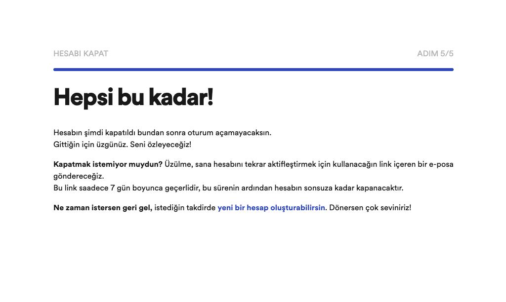 Spotify hesap kapatma talebinizin alındığına dair bilgi sayfası